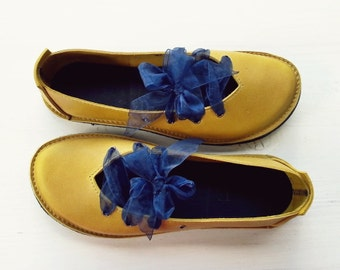 Ladies shoes, CLARA, Handmade Leather Vintage Inspired Shoes by Fairysteps in Mustard