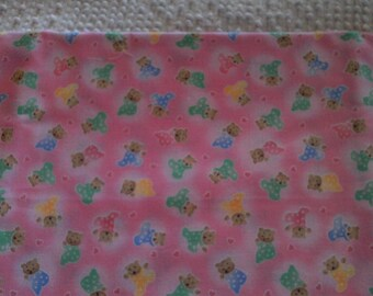 Childrens  Novelty Fabric Green Blue Yellow Bears on Pink