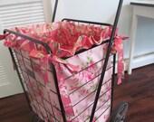 RESERVED for MOM2YORKIES - Flea Market Cart Liner - Pink Roses on Pink - Tanya Whelan Barefoot Roses - Shabby Cottage