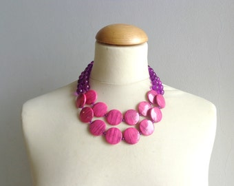 Pink statement necklace double strand purple pink jewelry