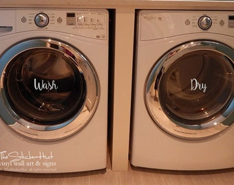 Wash Dry - Laundry Room Decor - Vinyl Lettering - Removeable - Washer Dryer Decor - Wall Art Words Text Door Sticker Decal 1940