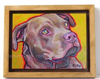 Fawn PIT BULL Dog Original Portrait Painting on 6x8 Panel Framed Art by Lynn Culp