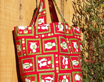 Noel Snowmen Grenadine Red and Forest Green Reusable Gift Bag Christmas Tote