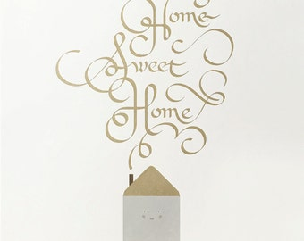 Gold Home Sweet Home Screen print