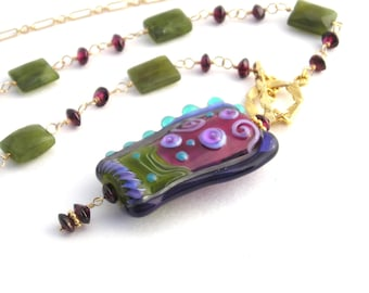 Gold Chain Necklace With Lampwork Pendant, 28 Inch, Garnet, Vasunite, Long Necklace, Olive Green, Plum