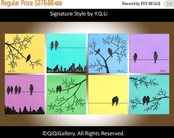 """Eight Squares birds Art wall decor wall hangings wall art tree birds cituscape decorative art """"Suburban Birds"""" by qiqigallery"""