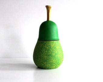 Pear: Hand Painted Ceramic Pear shaped jar