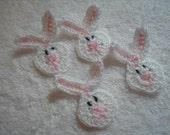 Crochet Bunny Appliques set of 4