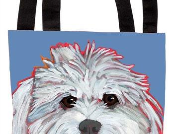 Mommy's Little Boy canvas tote, Mommy's Little Girl canvas tote, coton de tulear, cotton dog, maltipoo, maltese, schnoodle custom tote bag