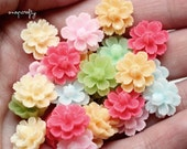 20pc small sakura blossom resin flower cabochons / shiny flat back flower embellishments / spring pastel colors / resin flower cabs / 14mm