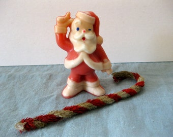 Vintage Novelty Christmas Santa Candle, Holiday Decoration