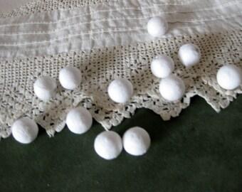 Beautiful 14mm, 1/2 inch Raw Spun Cotton Balls (12)