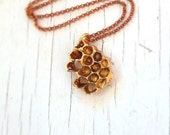 Honeycomb Necklace, Beehive Necklace, Golden Honey Necklace, Honey Jewelry, Bee jewelry, Honey Comb Necklace, handmade in my studio