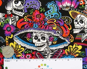 Alexander Henry CATRINA CHIQUITA Black Hat Elegant Skull Quilt Fabric by the Yard, Half Yard, or Fat Quarter Fq Day of the Dead Skulls