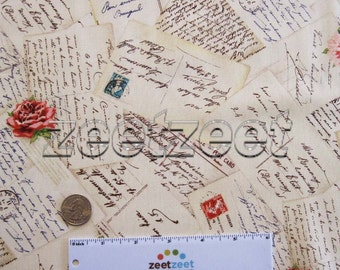 """Michael Miller FRENCH POST Cards Vintage Style Postcards Cream - Cotton Quilt Fabric - 8"""" x 45"""" Precut Remnant - Rare Out of Print - Last Pc"""