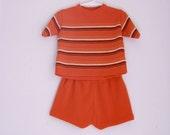 Vintage toddler knit shorts outfit 2t 3t orange and black stripes