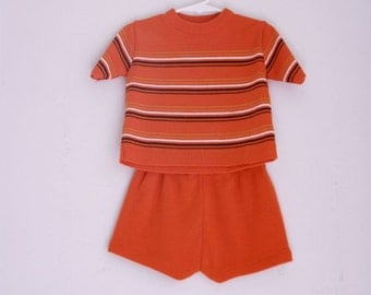 Vintage toddler knit shorts outfit 2t 3t orange and black stripes