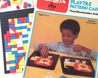 Vintage Playskool play tiles and pattern cards educational toy visual discrimination toy