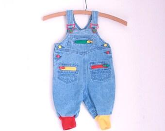 Vintage bay denim overalls eighties style 6 to 9 months rainbow zippers