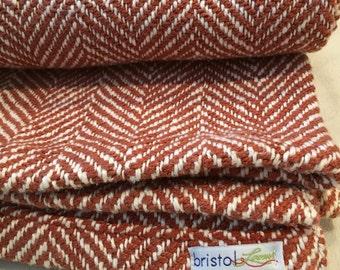 Orange Herringbone Woven Blanket