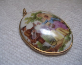 FRAGONNARD Signed  50x38mm Limogue Courting Scene Cabochon with 14Kt GF Bezel and Loop Pendant