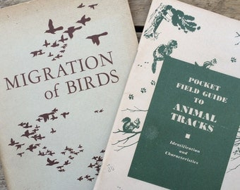 pair of vintage 1950s nature booklets // Bird Migration & Animal Tracks