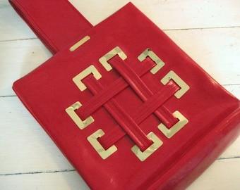 Vintage 1960's Mod Bright Red Vinyl Large Handbag Purse