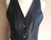 Black Leather Motorcycle Vest
