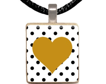 Gold Heart Scrabble Pendant, Polka Dot Scrabble Necklace, Black and Gold Necklace, Gift for Her, Gold Heart, Sparkle (GOLD HEART)