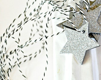 Silver Star Gift Tags {10} Silver Glitter Tags | Glitter Star Tags | Christmas Star Tags | Holiday Gift Tags | Star Tags | Small Tags