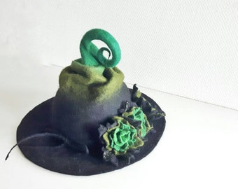 Witch wizard hat with flowers felted from wool woodland green black Haloween costume LARP CUSTOM MADE choose your own colors