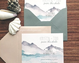 Watercolor Save The Date / Lakeside Mountain Wedding Card with Envelope