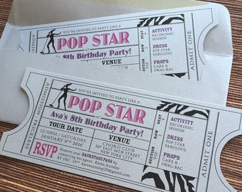 Pop Star Vintage Invitation Ticket / Girls Birthday Party / DIY Download Printable PDF Template