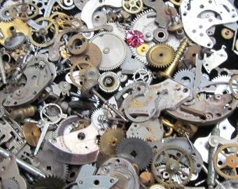 1 oz 28 grams Vintage Watch movements parts cogs gears Steampunk Z 48