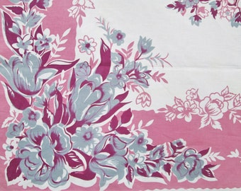 Vintage Tablecloth 1940s Pink Purple Floral Tulips Vintage Linens