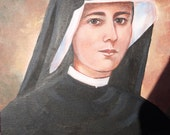 Saint Maria Faustina Kowalska, Apostle of The Divine Mercy, 8 X 10 Print on 110 lb Card Stock of, OOAK Original painting, Catholic Art,