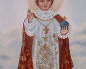 Infant of Prague, Infant King and Priest 11 X 14 Print on 110lb Card Stock Scanned From my Original Acrylic Painting with Swarovski Crystals