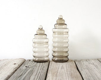 Pair of Danish Modern Holmegaard Primula Ribbed Glass Jars by Jacob Bang