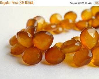 Clearance SALE Honey Chalcedony Briolette Gemstone Faceted Heart 10 to 11.5mm 21 beads