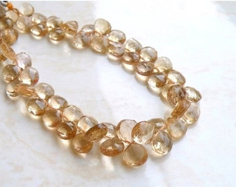 Clearance SALE Beer Quartz Gemstone Briolette AAA Faceted Heart 7 to 7.5mm 15 beads