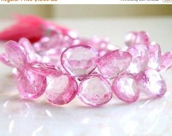 51% Off Sale Pink Topaz Gemstone Briolette Mystic Faceted Heart Teardrop 9 to 9.5mm 5 beads