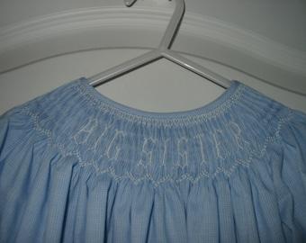 Custom Hand Smocked BIG SISTER Bishop Dress size 2T