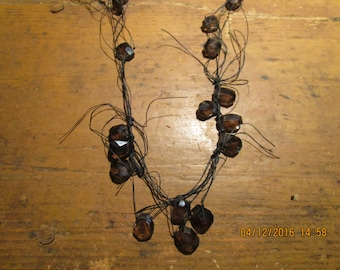 Urban Eclectic Faceted Smokey Quartz  on Linen Cord Necklace