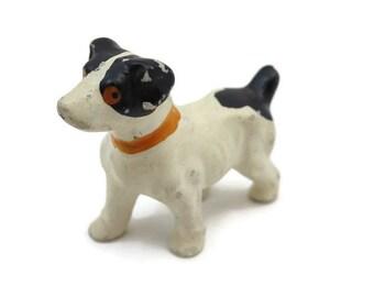 Dog Figurine - Vintage, White Black Spots, Japan