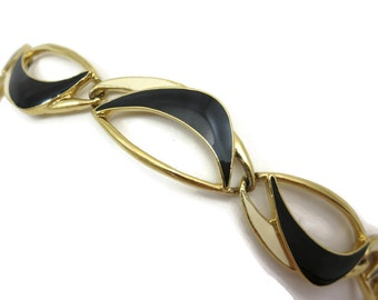 Trifari Jewelry Bracelet - Gold Tone Black and Cream Enamel, Mid Century Boomerangs, Costume Jewelry