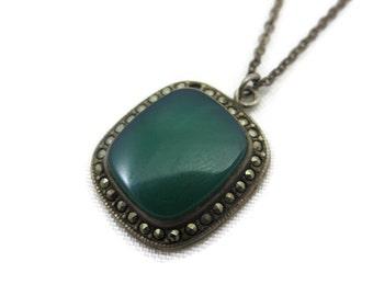 Art Deco Pendant - Chrysoprase, Marcasite and Sterling Silver, Estate Jewelry