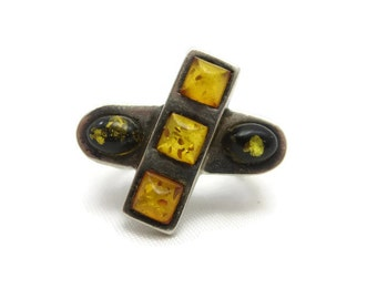 Amber Statement Ring - Baltic Amber, Sterling Silver, Modernist, Bold Chunky