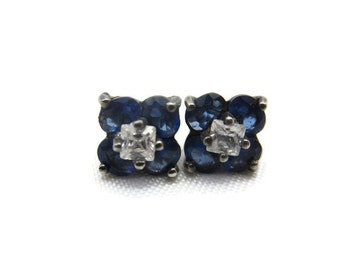 Sterling Earrings - Sapphire Blue Glass, Clear CZs, Silver, Post Pierced, Small, Studs