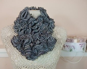 Short, Knitted Ruffle Scarf in Black and Creamy White - Item 903