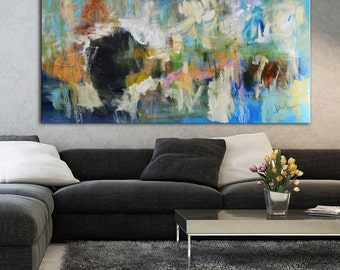 Acrylic original abstract painting, abstract floral painting, painting on canvas, ready to hang, wall art, blue green painting, large art